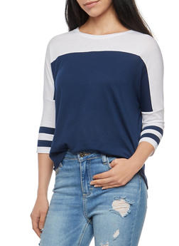 Color Block Dolman Sleeve Top - 3011054265844