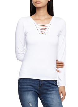 Long Sleeve Lace Up Top - WHITE - 3012051069555