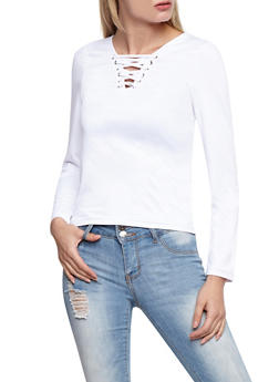 Lace Up Long Sleeve Top - WHITE - 3012051069556