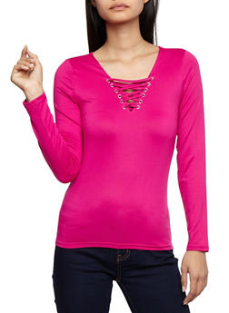 Lace Up Long Sleeve Top - 3012051069556