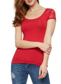 Short Sleeve Lace Yoke T Shirt - 3012054262996