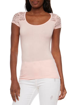 Short Sleeve Lace Yoke T Shirt - 3012054262996