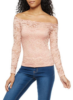 Scalloped Lace Off the Shoulder Top - 3012054265828