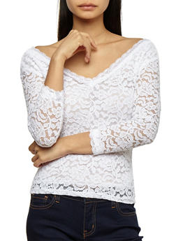 Lace 3/4 Sleeve Top - WHITE - 3012054265851