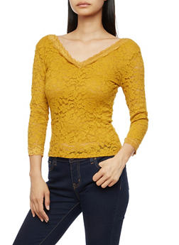 Lace V Neck Top with Three Quarter Sleeve - 3012054265851