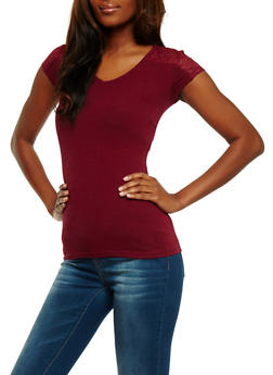 Short Sleeve Lace Yoke Top - 3012054268371