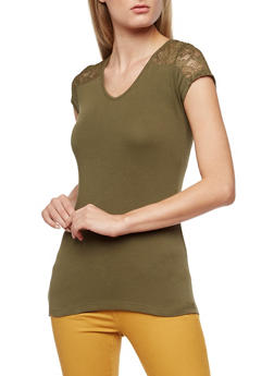 Lace Detailed V Neck Top - 3012054268372