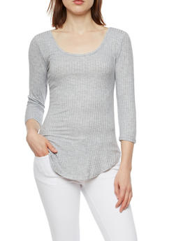 Long Sleeve Ribbed Knit Top - 3012054268672