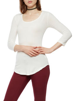 Long Sleeve Ribbed Knit Top - OFF WHITE - 3012054268672