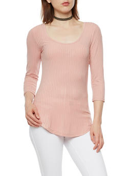 Long Sleeve Ribbed Knit Top - MAUVE - 3012054268672