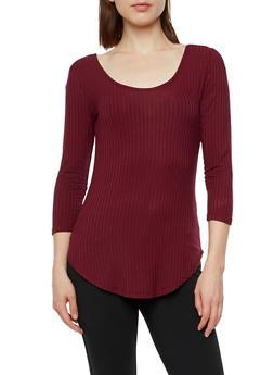 Long Sleeve Ribbed Knit Top - 3012054268672