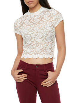 Scallop Lace Mock Neck Top - IVORY - 3012054268856