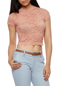 Scallop Lace Mock Neck Top - 3012054268856