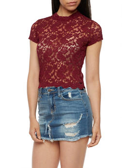 Scallop Lace Mock Neck Top - BURGUNDY - 3012054268856