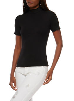Rib Knit Short Sleeve Mock Neck Top - 3012054268887