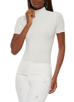 Rib Knit Short Sleeve Mock Neck Top - OFF WHITE - 3012054268887
