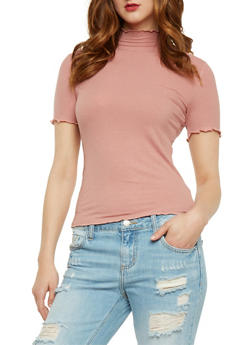 Rib Knit Short Sleeve Mock Neck Top - 3012054268887