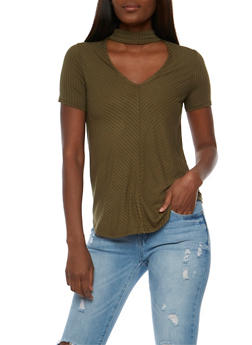 Rib Knit V Neck Choker Top - OLIVE - 3012054268888