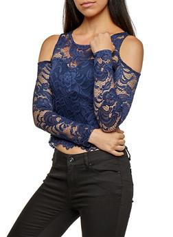 Lace Cold Shoulder Top - 3012054268914