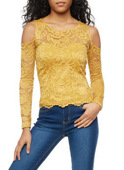 Lace Cold Shoulder Top - 3012054268914