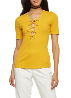 Rib Knit Top with Lace Up V Neck - GOLD - 3012054269195