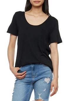 Short Sleeve Round Hem T Shirt - 3012054269410
