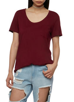 Short Sleeve Round Hem T Shirt - BURGUNDY - 3012054269410