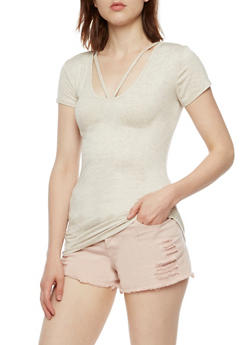 Ribbed Knit Short Sleeve Top - 3012054269473