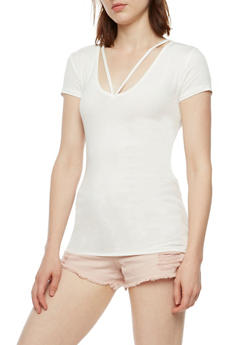 Ribbed Knit Short Sleeve Top - WHITE - 3012054269473