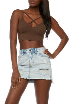 Solid Caged Crop Top - 3012054269726