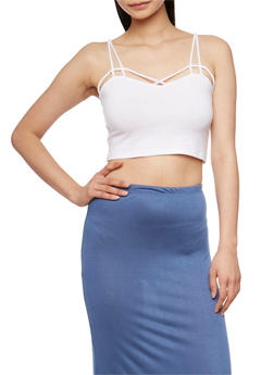 Caged Crop Top with Cutout Straps - WHITE - 3012054269727