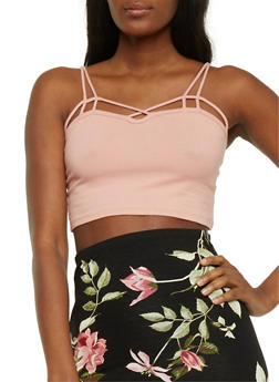 Caged Crop Top with Cutout Straps - 3012054269727