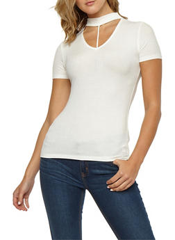 Ribbed Knit T Strap Choker Neck Top - WHITE - 3012054269734