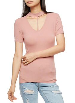 Ribbed Knit T Strap Choker Neck Top - 3012054269734