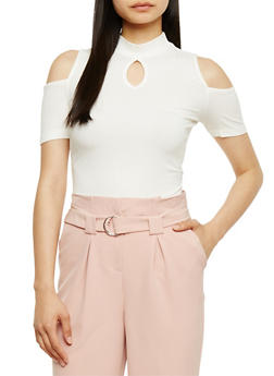 Rib Knit Cold Shoulder Top with Keyhole - OFF WHITE - 3012054269755