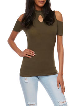 Rib Knit Cold Shoulder Top with Keyhole - OLIVE - 3012054269755