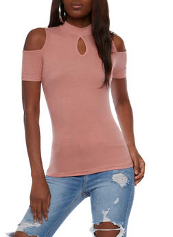 Rib Knit Cold Shoulder Top with Keyhole - 3012054269755
