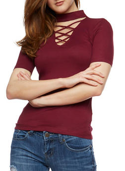 Rib Knit Caged Choker Top - BURGUNDY - 3012054269756
