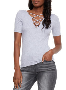 Rib Knit T Shirt with Caged Back - 3012054269757