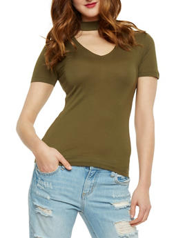 Short Sleeve V Neck Choker T Shirt - OLIVE - 3012054269759