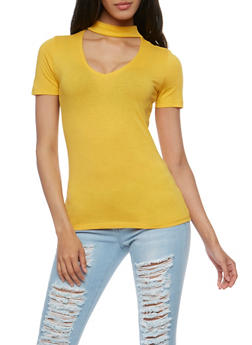 Short Sleeve V Neck Choker T Shirt - 3012054269759