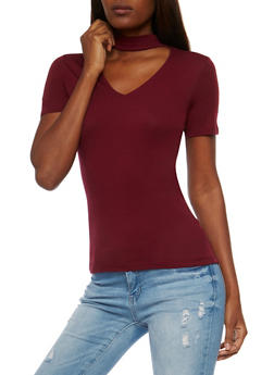 Short Sleeve V Neck Choker T Shirt - 3012054269759