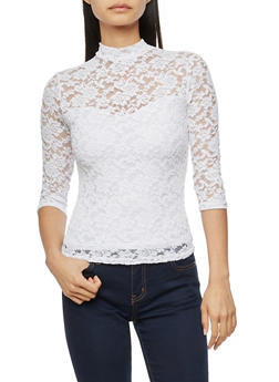Lace Mock Neck Top with Back Keyhole - WHITE - 3012054269760