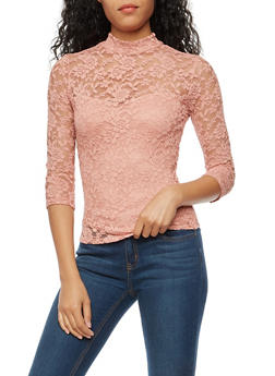 Lace Mock Neck Top with Back Keyhole - 3012054269760