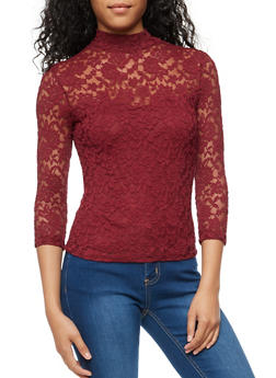 Lace Mock Neck Top with Back Keyhole - BURGUNDY - 3012054269760
