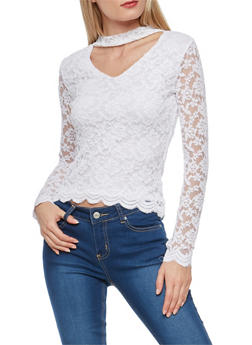 Lace Choker Neck Top - WHITE - 3012054269780