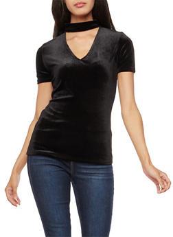Short Sleeve Velvet Choker Neck Top - 3012054269781