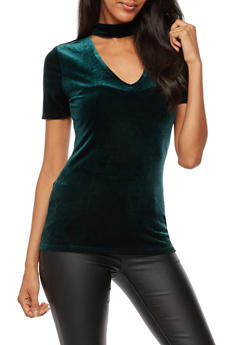Short Sleeve Velvet Choker Neck Top - 3012054269781
