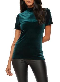 Short Sleeve Velvet Mock Neck Top - 3012054269782