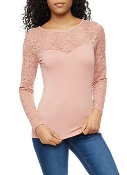 Lace Long Sleeve Sweetheart Neck Top - 3012054269783